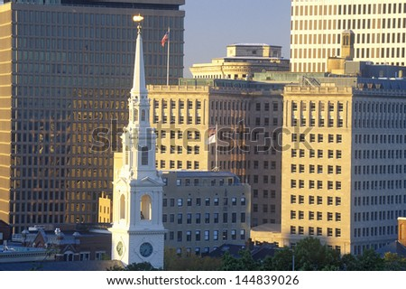 Close-up of the buildings in Providence, RI - stock photo