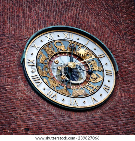 Close-up of the clock of Oslo City Hall , Norway - stock photo