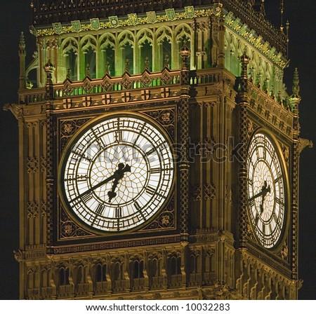Close-up of the clock of Westminster Palace Clock Tower housing Big Ben - stock photo