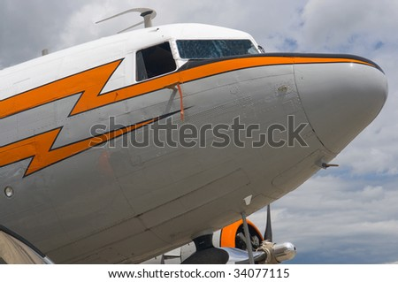 Close-up of the cockpit on a vintage aircraft - stock photo