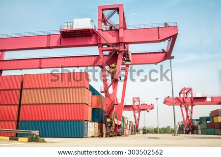 close up of the container freight yard  - stock photo