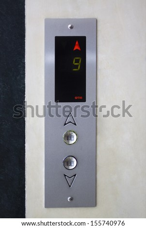 Close-up of the control panel of an elevator - stock photo