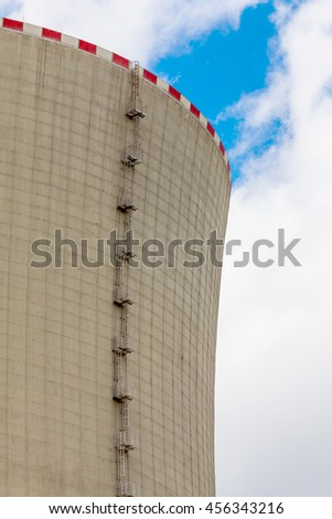 Close-up of the cooling tower of the nuclear power plant Temelin - Czech Republic - stock photo