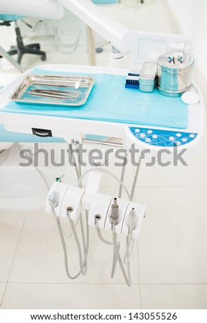 Close-up of the dentist's equipment in the dental office - stock photo