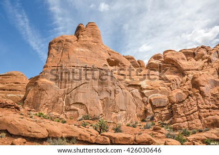 Close-up of the details in the sandstone found at Arches National Park in Utah - stock photo