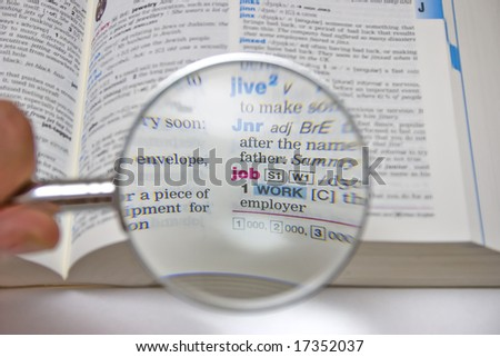 Close up of the dictionary definition of job