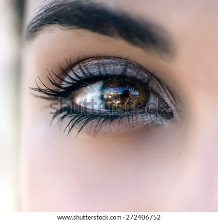 Close up of the eye of a woman - stock photo