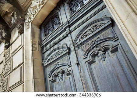 Close up of the facade of and old French house - stock photo