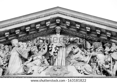 Close up of the facade of the Panthon in Paris - stock photo
