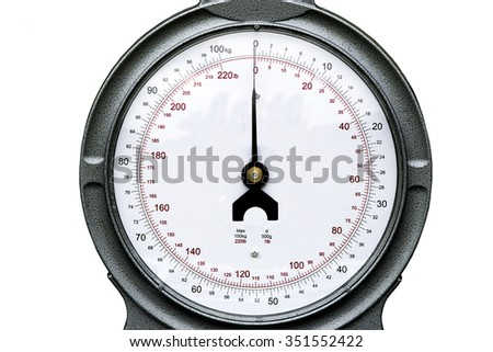 Close up of the face of weighing scales measuring pounds and kilograms on a white background - stock photo