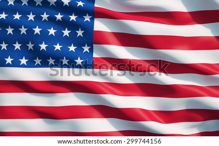 Close up of the flag of the United State of America.The USA Flag Drapery. - stock photo