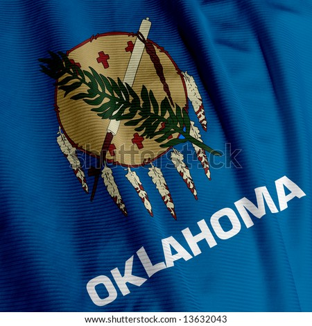 Close up of the flag of the US State of Oklahoma, square image - stock photo