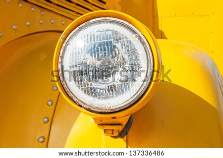 Close-up of the front of a school bus. - stock photo