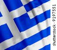 Close up of the Greek flag, square image - stock