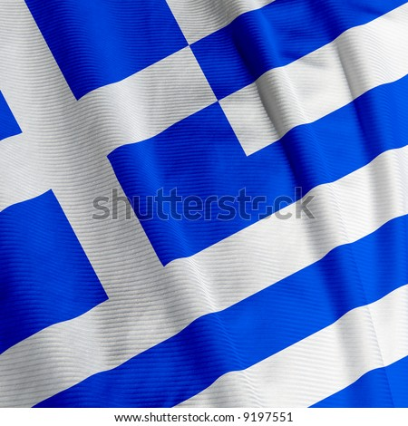 Close up of the Greek flag, square image