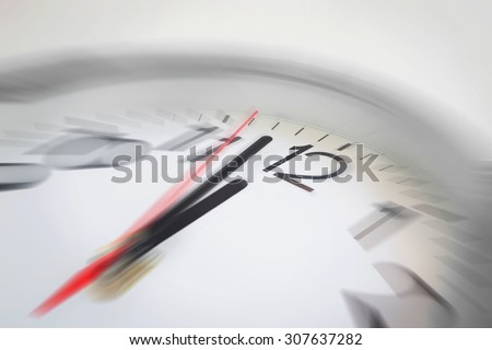 Close up of the hands of clock pointing nearly at 12 o'clock, business concept on deadline or rush hour. Using radial blur effect at 12 o'clock and rest is blurred.  - stock photo