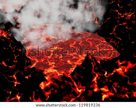 Close up of the heart of an active volcano and little smoke - stock photo
