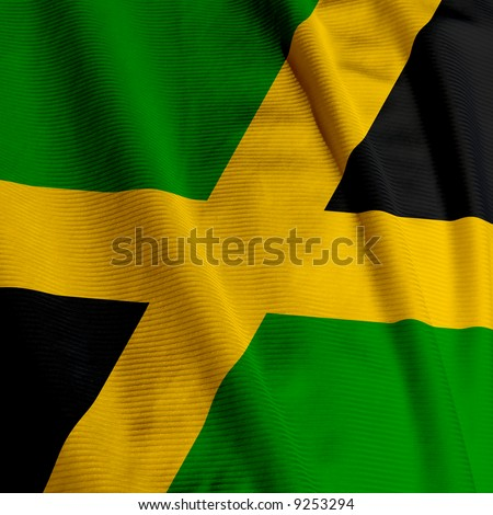 Close up of the Jamaican flag, square image - stock photo