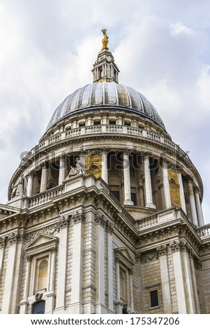 Close up of the magnificent St. Paul Cathedral in London. It sits at top of Ludgate Hill - highest point in City of London. Cathedral was built by Christopher Wren between 1675 and 1711. - stock photo