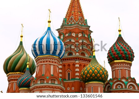Close up of the most famous cathedral in Moscow and Red Square, just meters from the Kremlin.  Detalle de la catedral mas conocida de Moscu y la Plaza Roja a metros del Kremlin. - stock photo