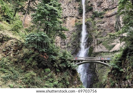 Close up of the Multnomah waterfall in Oregon - stock photo