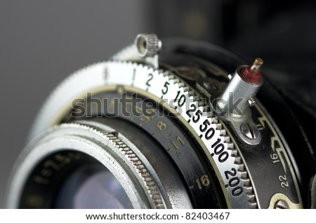 Close up of the part of old camera. - stock photo