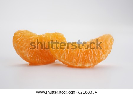 close up of the peeled  mandarin orange segment