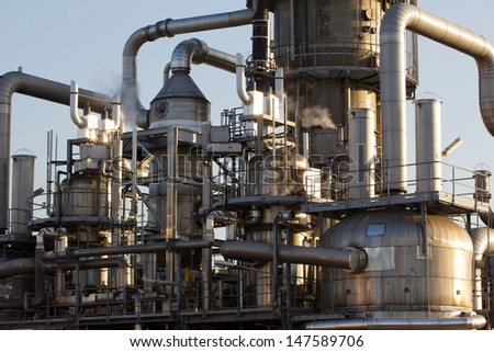 Close-up of the pipes and tubes of an oil-refinery plant