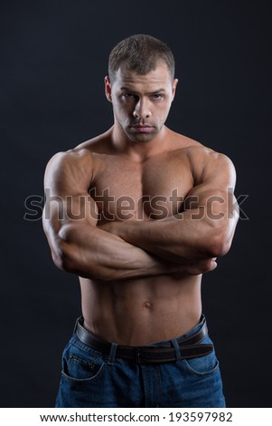 Close up of the Powerful bodybuilder with stern look