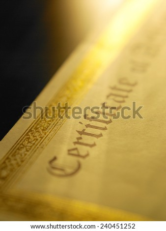 close up of the printed certificate - stock photo