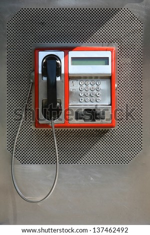 close up of the public pay phone - stock photo