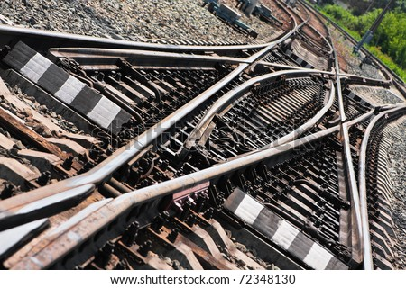 Close-up of the railway tracks complex junction - stock photo