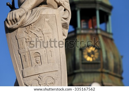 Close up of the statue of Roland.Riga,Latvia,Europe.On background St Peter's church - stock photo