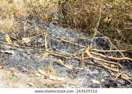 close-up of the traces of burning in the mountains - stock photo