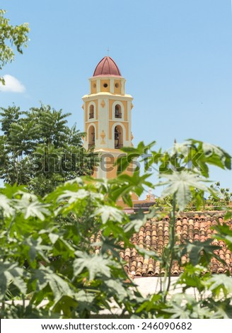 Close up of the Trinidad Church's bell tower, the building is nowadays a Museum of the fight against bandits in the Escambray - stock photo