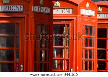 Close up of the typical English telephone booths - stock photo