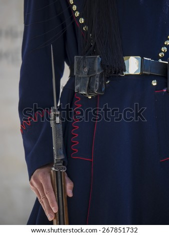 Close up of the uniform of the Evzones guards in Athens Greece - stock photo