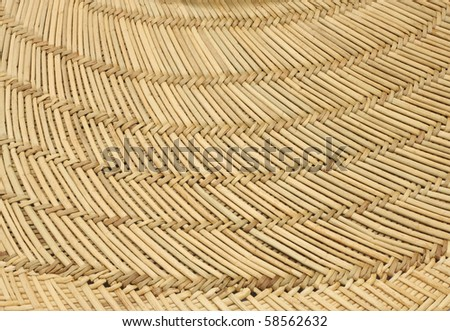 Close up of the wide brim of a straw hat.