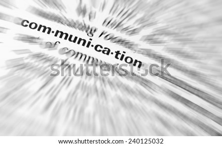 Close-up of  the  word Communication. - stock photo