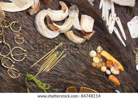 Close up of thing used in folk decorations - stock photo
