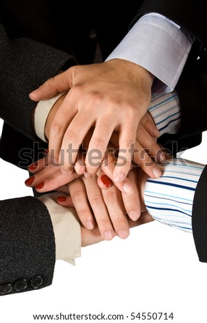 Close up of three business human hands showing unity - stock photo