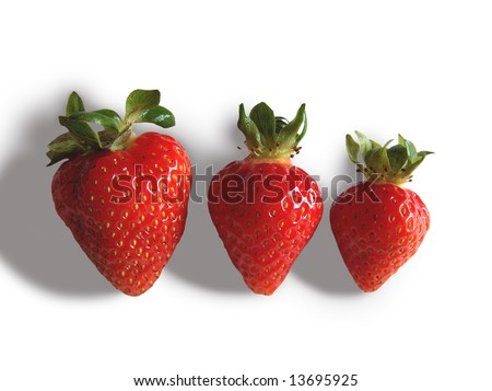 Close up of three strawberries isolated on white background - stock photo