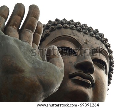 Close up of Tian Tan Buddha with details of hand - The worlds's tallest outdoor seated bronze Buddha located in Lantau Island, Hong Kong, China - stock photo