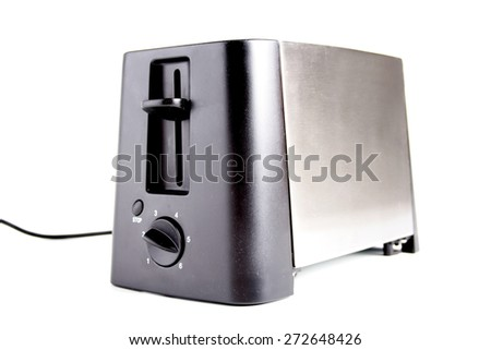 Close-up of toaster on white background - stock photo