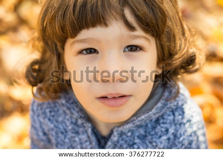 Close up of toddler boy in autumn park