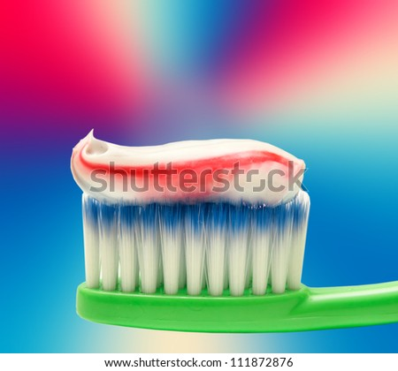 Close up of toothbrush - stock photo