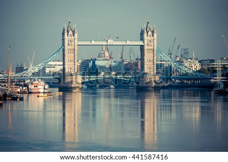 Close up of Tower Bridge in London. - stock photo