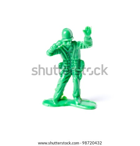 close up of toy soldier - isolated