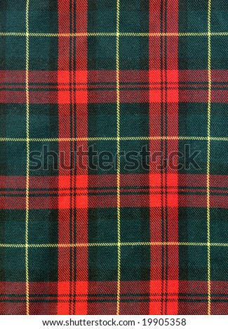 Close-up of traditional scottish checked material - stock photo