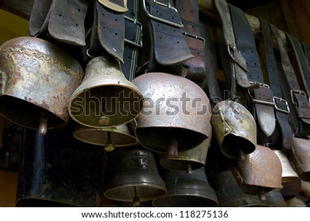 Close-up of traditional Swiss cowbells - stock photo